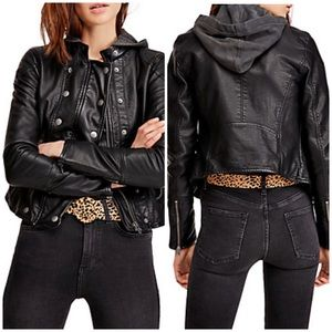 Free People Vegan Leather Black Moto Jacket Small